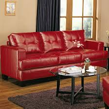 f wondrous american red upholstered tufted leather lawson sofa with square arms and loose t cushion seat combine black finish cube wooden base feet astounding red leather couch furniture