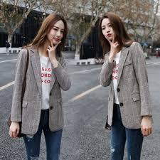 <b>Suit</b> women's jacket <b>2019 new</b> Korean version of the retro <b>plaid</b> ...