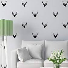 Removable 36 pieces Hunting Deer Head Pattern Wall Decal Living ...