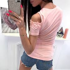 Round Neck <b>Hollow Out</b> Lace Short Sleeve <b>T</b>-<b>Shirts</b> – Ratecuteshop