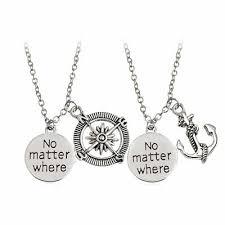 "<b>2pc</b> Necklace Set ""<b>No Matter Where</b>"" Anchor Compass Couples <b>Best</b> ..."