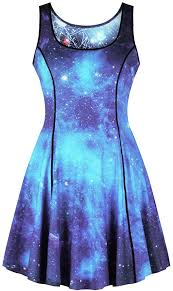 Leezeshaw <b>Women's</b> Reversible <b>Summer</b> Dress 3D Galaxy Print ...