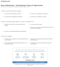 quiz worksheet job redesign theory approaches com print job redesign definition theory approaches worksheet