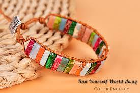 Asingeloo Multi Color <b>Natural Stone</b> Beads Chakra <b>Bracelet</b> For ...