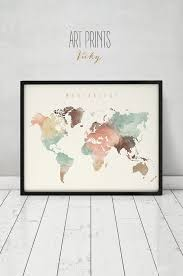 wanderlust world map watercolor print world map poster travel map large map watercolor typography art home decor artprintsvicky artistic home office track