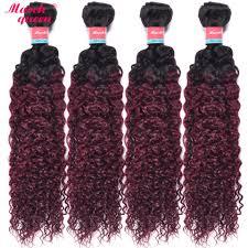 4 <b>Bundles Ombre</b> Burmese Kinky Curly Non Remy Hair <b>T1B</b>/<b>99J</b> ...