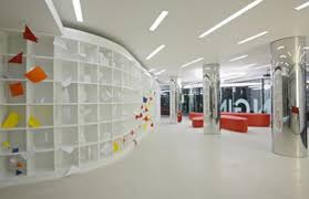 modern and awesome hallways interior office design idea with bright color awesome modern office interior design