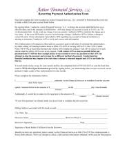 Recurring Payment Authorization Form- Recurring Payment Authorization Form