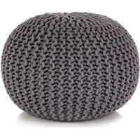 vidaXL Hand-Knitted <b>Pouffe</b> Cotton 50x35 cm <b>Brown</b> - Rewardia