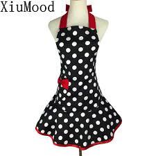 XiuMood, модный ретро <b>фартук</b> в горошек, хлопок, черный ...