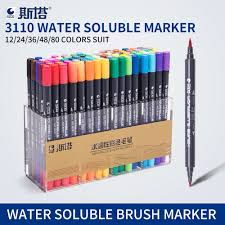 <b>STA 80Colors Double Head</b> Artist Soluble Colored Sketch Marker ...