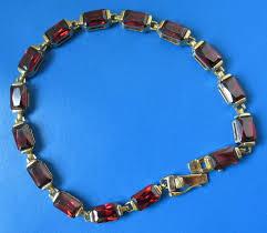 Art Deco <b>Sterling</b> Zilveren schakelarmband met rode granaat - <b>925</b> ...
