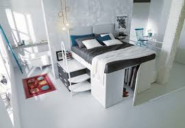 small closet completing stunning space saving furniture for unique bedroom with white loft bed and grey amazing space saving furniture