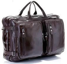 Fashion Multi Function <b>Full</b> Grain <b>Genuine Leather</b> Travel Bag <b>Men's</b> ...