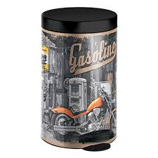 <b>Ведро для мусора 14</b> л с педалью сталь с рисунком Байк Meliconi ...