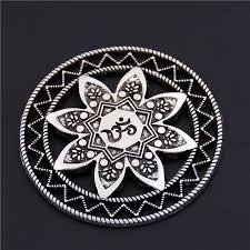 5PCS <b>Antique Silver Alloy</b> Round Carved Mandala Charm OM OHM ...
