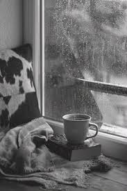 Image result for rain black and white with coffee