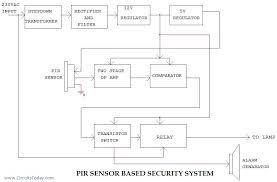 pir sensor based security system   electronic circuits and diagram    pir block diagram