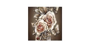 Retro Rose Flower 5D <b>Diamond</b> Painting <b>Embroidery</b> DIY Paint by ...