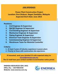 career enersea resources job posting ad 2