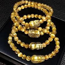 Genuine <b>Natural Gold Rutilated</b> Quartz 6mm Wealthy Round Beads ...