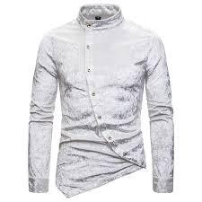 <b>Men's</b> Fashion Diagonal Button Suede Irregular Stand Collar Long ...