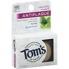 Toms of Maine <b>Flat</b> Floss, <b>Antiplaque</b>, <b>Naturally Waxed</b>, Spearmint ...