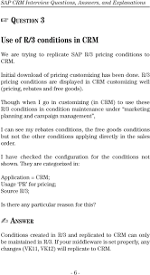 sap crm interview questions answers and explanations pdf though when i go in customizing in crm to use these r 3