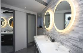 sliding bathroom mirror:  accessories round bathroom mirror with lights for modern designs  using creative wall tiles and latest