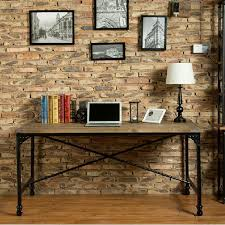 american country old retro wood wrought iron work tables household moving pulley simple desk american country wrought iron vintage desk