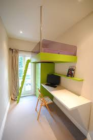 kids rooms example of a small trendy gender neutral teen room design in london with white space saving loft beds bedroom loft bed desk combo
