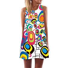 Boyijia Women <b>Digital Printing</b> Sleeveless Dresses with <b>Round</b> ...