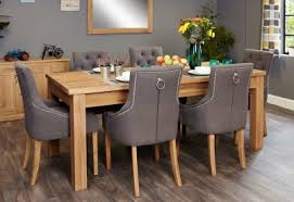 baumhaus mobel extending oak dining set with 6 stone fabric upholstered chairs baumhaus mobel extending oak dining