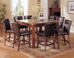 Square Dining Room Table With 8 Chairs Rustic Style Square Dining Table With Wooden Legs And Granite Top