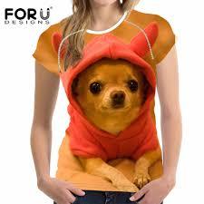 <b>FORUDESIGNS</b> Kawaii Chihuahua Women T Shirt <b>Summer Woman</b> ...