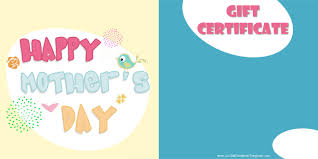 mother s day gift certificate templates happy mothers day