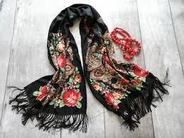 Polish slavic folk scarf fringes <b>flowers pattern</b> ethnic shawl <b>high quality</b>