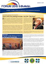 forum people at the center of health research and innovation forum 2015 daily news 27 2015