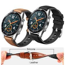 22mm Watch Strap for Huawei Watch GT Band <b>Genuine leather</b> ...
