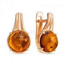 <b>Серьги</b> с янтарем в золоте - купить в Москве по выгодной цене
