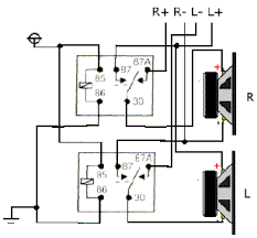 relay basics fused 12 volt source sound complicated i hope the diagram helps make it seem simple the relays at rest the amp is running in two channel mode