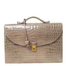 Buy Bottega Veneta Grey <b>Crocodile Briefcase</b> 225642 at best price ...