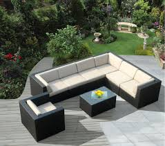 patio couch set lengthy l shaped wicker patio sectional in black and eggshell tones features matching armchair plus