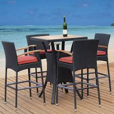 wicker bar height dining table: tosh furniture  piece cushioned wicker patio bar height set