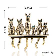 Blucome Vintage <b>Green Eyes</b> Cats Shape Brooches Antique Gold ...
