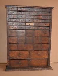 antique oak watchmaker cabinet 49 drawer slide top seed spice box country store antique furniture apothecary general