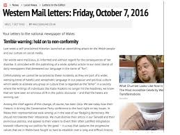 russell elliott on a timely letter published the day russell elliott on a timely letter published the day after the secretary of state for wales insulted welsh speaking wales wearewales