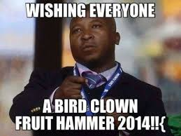 Black Man Meme Wishing everyone a bird clown fruit... via Relatably.com