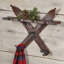 cabin decor lodge sled:  crossed skis wall shelf with hooks