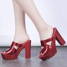 Summer <b>Women</b> High Heels Platform Mule <b>Shoes Fashion Patent</b> ...
